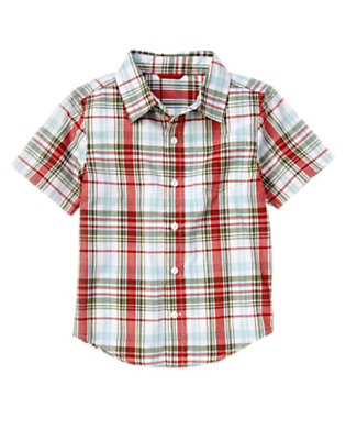 Boys Ballpark Blue Plaid Pocket Plaid Shirt by Gymboree