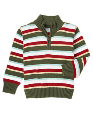 Boys Baseball Red Stripe Stripe Half Zip Sweater by Gymboree