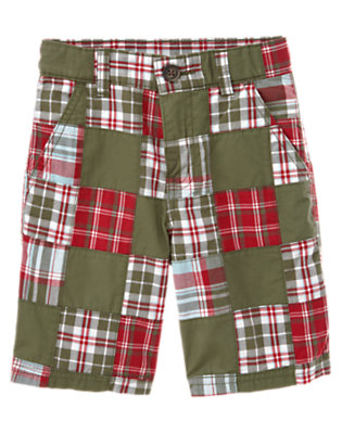 Boys Olive Green Patchwork Plaid Patchwork Short by Gymboree