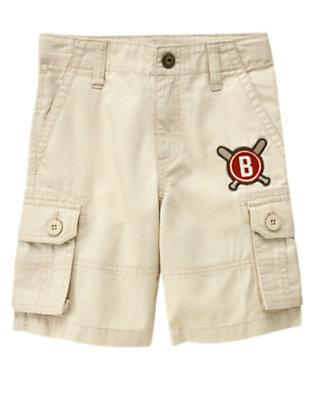 Boys Light Khaki Baseball Patch Ripstop Cargo Short by Gymboree