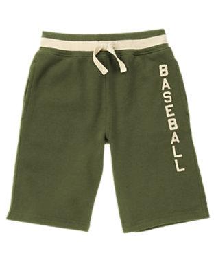 Boys Olive Green Baseball Fleece Short by Gymboree