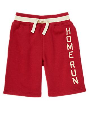 Boys Baseball Red Home Run Fleece Short by Gymboree