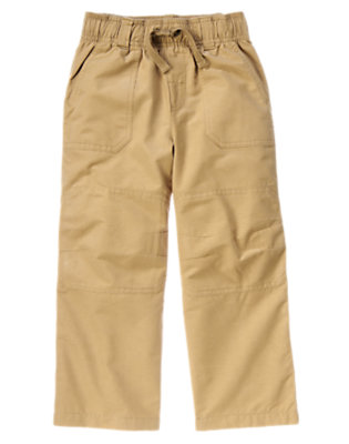 Boys Khaki Drawstring Knee Seam Pant by Gymboree