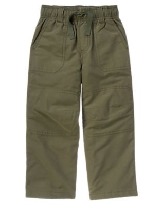 Boys Olive Green Drawstring Knee Seam Pant by Gymboree