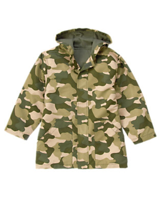 Olive Green Camo Camo Hooded Rain Jacket by Gymboree