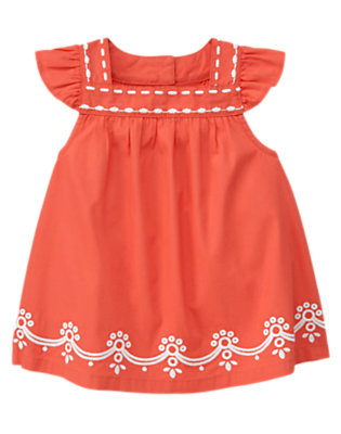 Toddler Girls Orange Spice Embroidered Halter Top by Gymboree