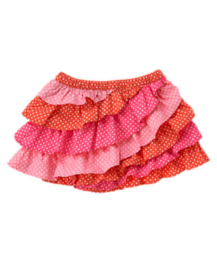 Toddler Girls Orange Spice Dot Dot Tiered Ruffle Skirt by Gymboree