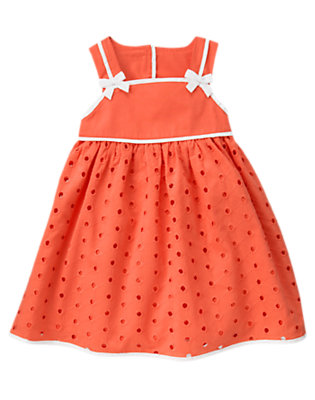 Toddler Girls Orange Spice Bow Eyelet Dress by Gymboree