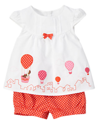 White/Orange Spice Puppy Hot Air Balloon Two-Piece Set by Gymboree
