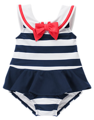 Toddler Girls Nautical Navy Stripe Stripe Sailor One-Piece Swimsuit by Gymboree