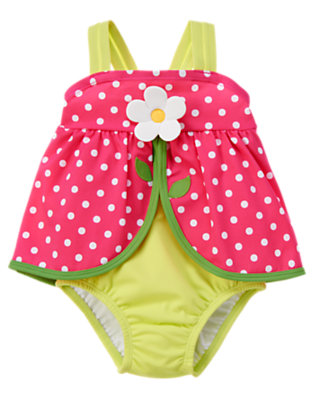 Toddler Girls Bright Lime Green Daisy Dot One-Piece Swimsuit by Gymboree