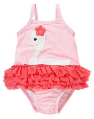 Toddler Girls Swan Pink Swan Tutu One-Piece Swimsuit by Gymboree