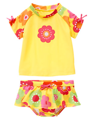 Lemon Yellow Floral Flower Rash Guard Set by Gymboree