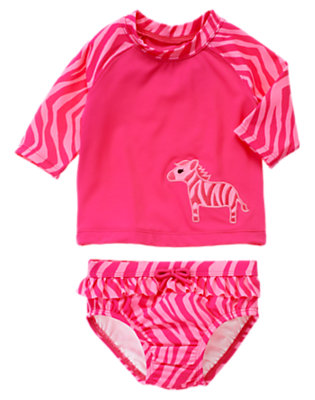 Zebra Pink Zebra Rash Guard Set by Gymboree