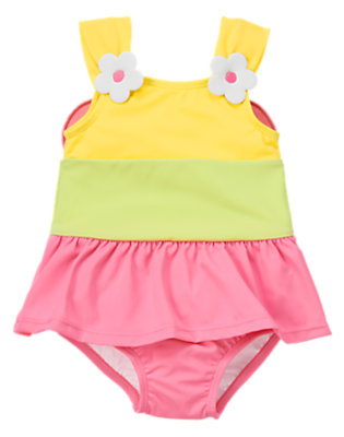Toddler Girls Bright Pink Flower Butterfly Colorblock One-Piece Swimsuit by Gymboree