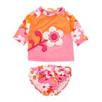 Flower Swirl Colorblock Rash Guard Set