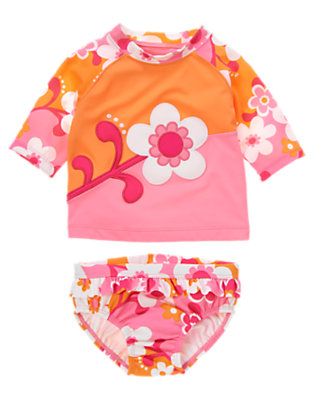 Toddler Girls Bright Pink Flower Swirl Flower Swirl Colorblock Rash Guard Set by Gymboree