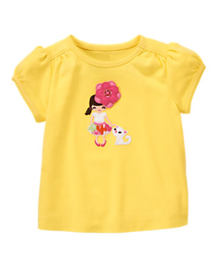 Buttercup Yellow Flower Girl Kitty Tee by Gymboree