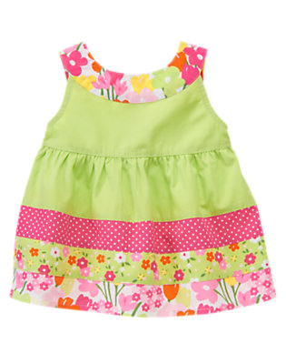Toddler Girls Green Tea Blossom Dot Mixed Print Top by Gymboree