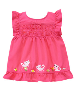 Tulip Pink Kitty Blossom Smocked Ruffle Top by Gymboree