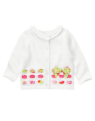 Toddler Girls White Blossom Ribbon Sweater Cardigan by Gymboree