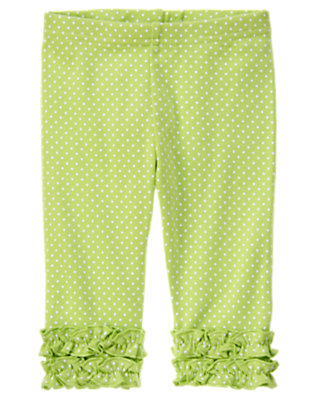 Toddler Girls Green Tea Dot Dot Ruffle Capri Legging by Gymboree