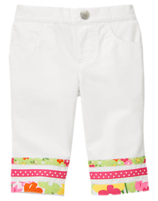White Dot Blossom Ribbon Pant by Gymboree