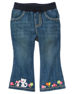 Denim Kitty & Mouse Blossom Jean by Gymboree