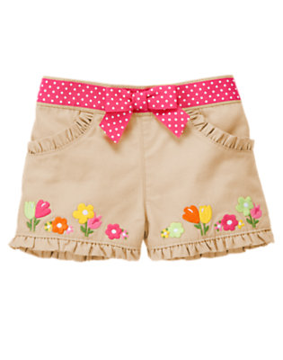 Toddler Girls Khaki Flower Dot Bow Ruffle Short by Gymboree