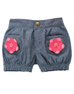 Toddler Girls Chambray Gem Button Flower Chambray Short by Gymboree