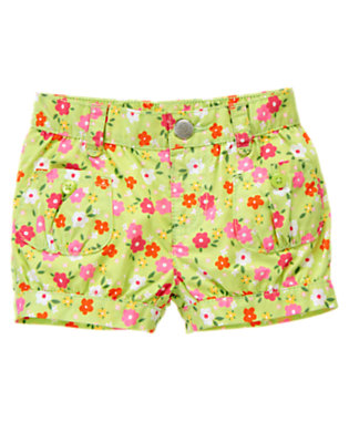 Green Tea Blossom Button Pocket Blossom Short by Gymboree