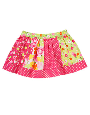 Toddler Girls Tulip Pink Dot Dot Blossom Mixed Print Skirt by Gymboree