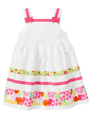 Toddler Girls White Dot Blossom Stripe Pique Dress by Gymboree