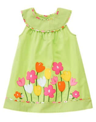 Toddler Girls Green Tea Growing Flowers Dress by Gymboree