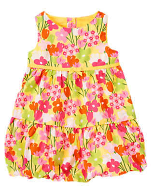 Toddler Girls Buttercup Yellow Floral Bow Flower Bubble Dress by Gymboree