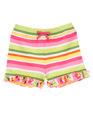 Toddler Girls Green Tea Stripe Stripe Ruffle Short by Gymboree