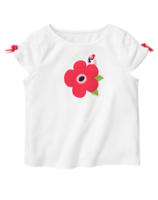 White Bow Bird Flower Tee by Gymboree