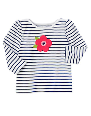 White/Nautical Navy Flower Stripe Long Sleeve Tee by Gymboree