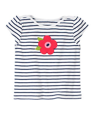 White/Nautical Navy Flower Stripe Tee by Gymboree