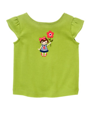 Leaf Green Bow Girl & Flower Top by Gymboree