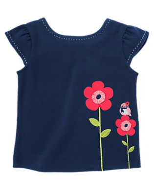 Nautical Navy Bird & Growing Flowers Top by Gymboree