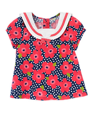 Navy Dot Flower Ribbon Flower Dot Sailor Top by Gymboree