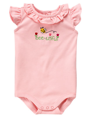 Tulip Pink Bee-utiful Ruffle Bodysuit by Gymboree