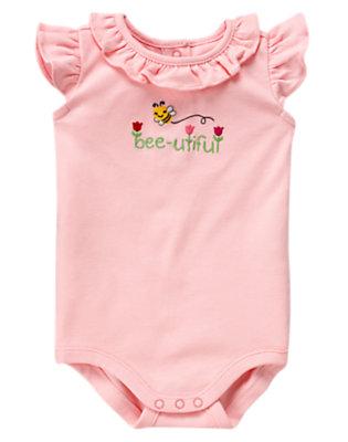 Baby Tulip Pink Bee-utiful Ruffle Bodysuit by Gymboree