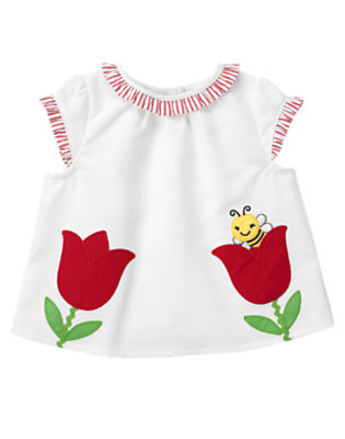 White Tulip Bee Top by Gymboree