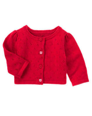 Baby Red Tulip Tulip Button Crop Cardigan by Gymboree