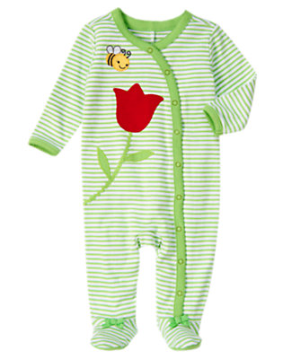 Tulip Stem Green Stripe Tulip Bee Stripe Footed One-Piece by Gymboree