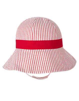 Tulip Red Stripe Tulip Seersucker Stripe Hat by Gymboree