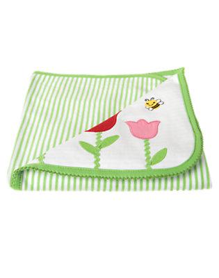 Tulip Stem Green Stripe Tulip Stripe Blanket by Gymboree