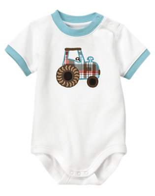Baby White Plaid Tractor Bodysuit by Gymboree